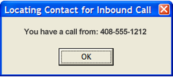 If the caller is not in your Outlook contacts, you will see this dialog box: NASDAQ: EGHT www.8x8.