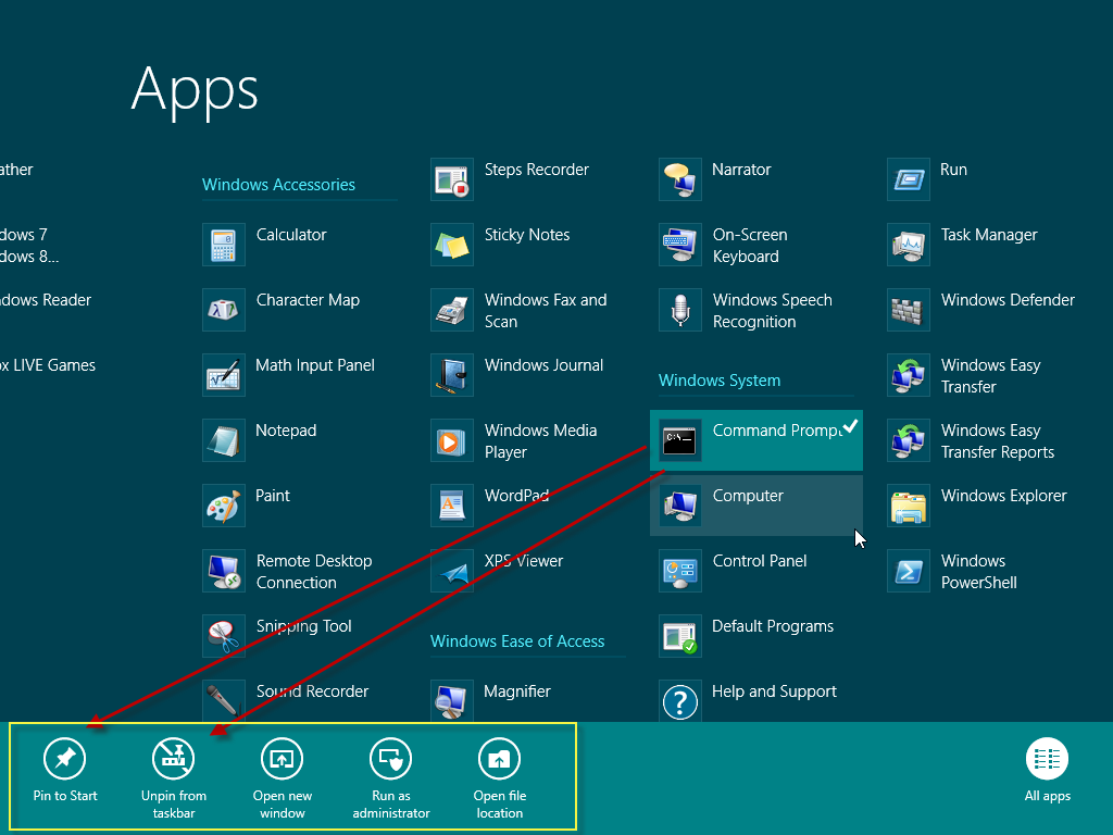 ส วนว ธ การ Unpin from Start, Unpin from taskbar