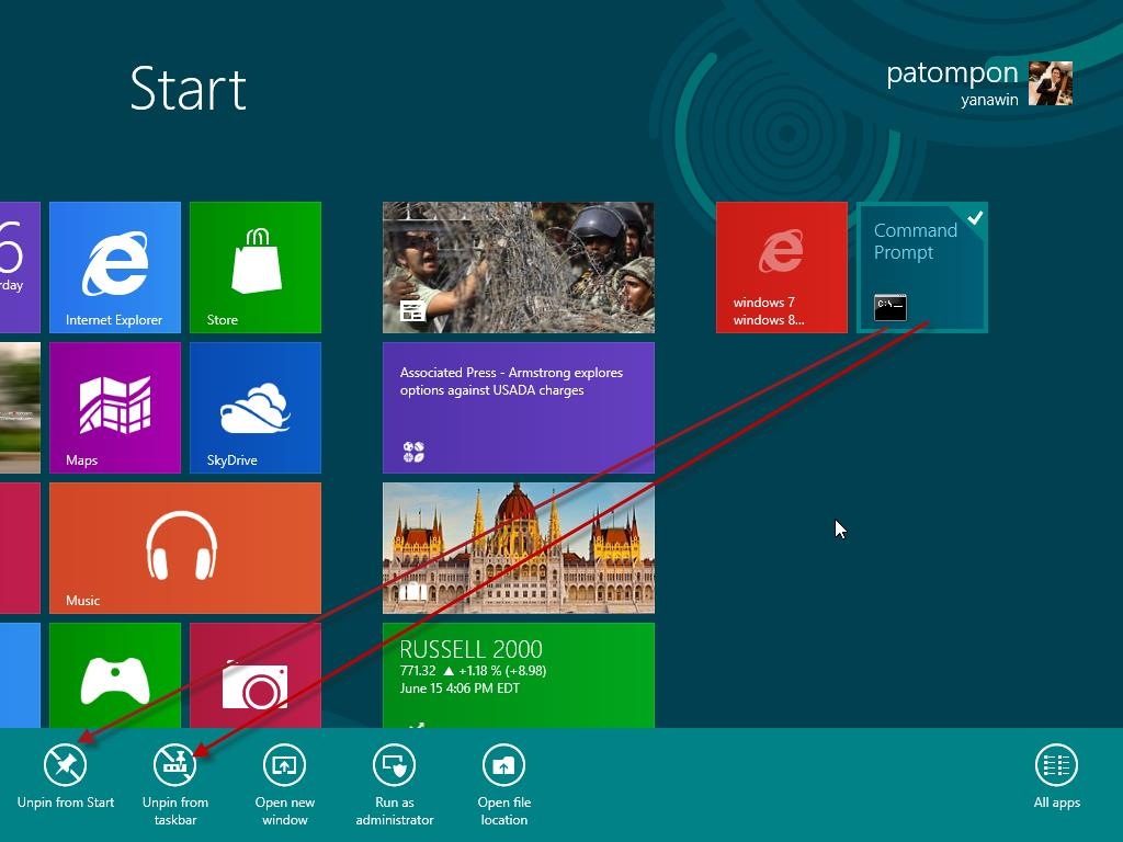 Unpin from taskbar Windows 8 เท าน