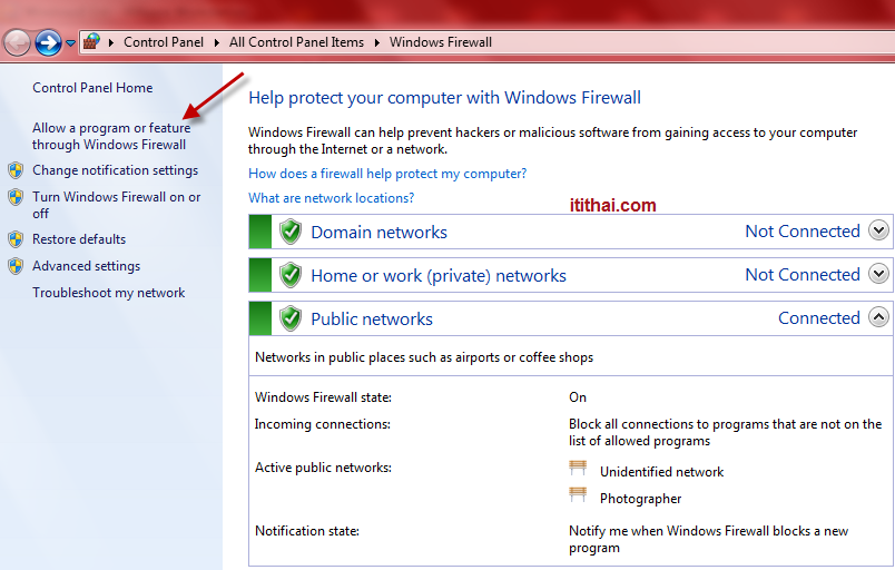 จากน นให เราไปท Control Panel > Windows Firewall > Alllow a program or feature through Windowss