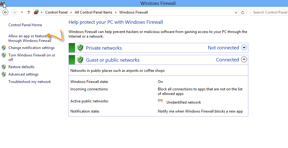 6. ทาบนเคร อง Windows 8 : จากน นให เราไปท Control Panel > Windows Firewall > Alllow a program or feature through
