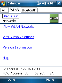 Figure 5-3.3: PDA IP Settings b. Enter the IP addresses as above. Select -> Ok (Top Right) Select -> Ok Again c.