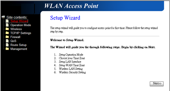 CPE Client Mode (Wireless Network Card Connection) Select the Setup Wizard on the left