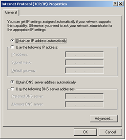 4. Select the General TAB panel, then check the Obtain an IP address automatically and Obtain DNS server address automatically radio buttons. Click on OK button. FIGURE 8.