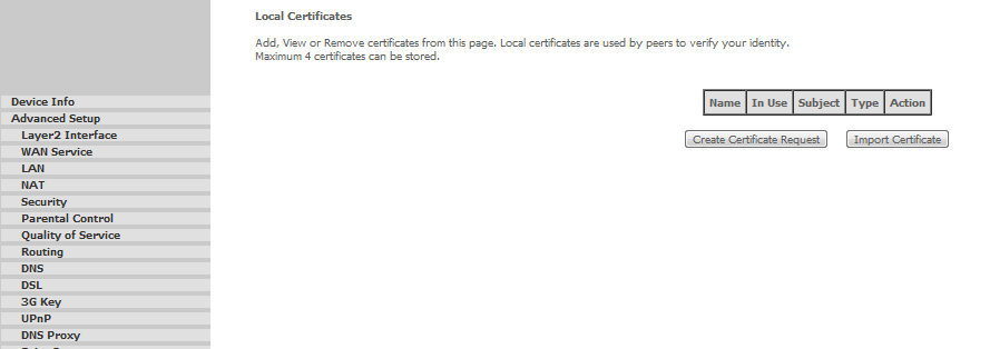 CERTIFICATE >> LOCAL In the Local Certificates panel it is possible to add, View or Remove certificates. Local certificates are used by peers to verify your identity.