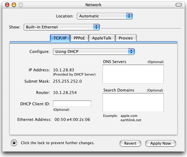 CONFIGURING YOUR MACINTOSH COMPUTER 3. If Using DHCP Server is already selected in the Configure field, your computer is already configured for DHCP. If not, select this option. 4.