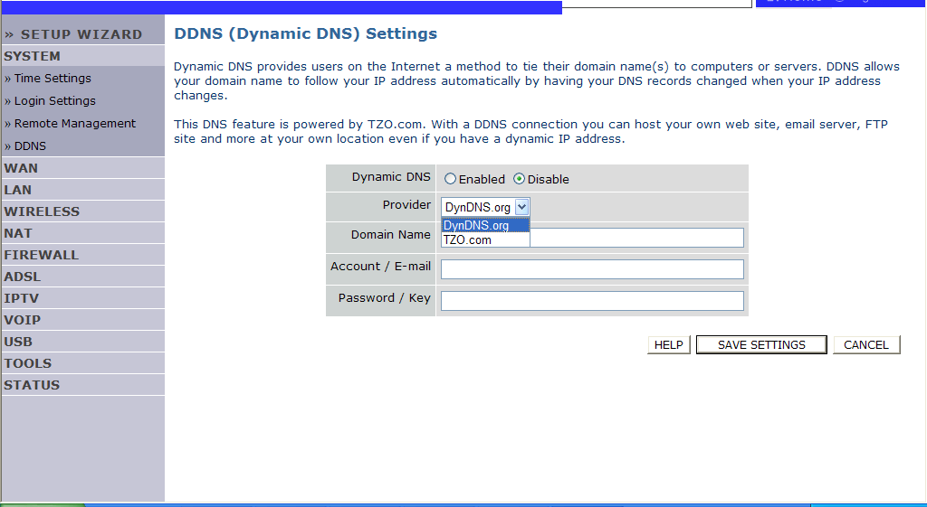 CONFIGURING THE VOIP ADSL ROUTER DDNS Dynamic Domain Name Service (DDNS) provides users on the Internet with a method to tie their domain name to a computer or server.