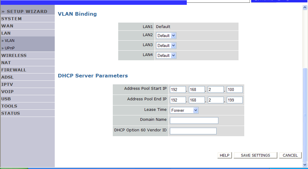 NAVIGATING THE MANAGEMENT INTERFACE LAN Use the LAN menu to configure the LAN IP