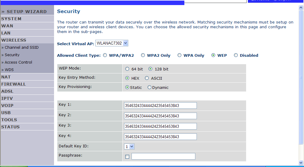 NAVIGATING THE MANAGEMENT INTERFACE WEP If you want to use WEP to protect your wireless network, you need to set the same parameters for the Router and all your wireless clients.