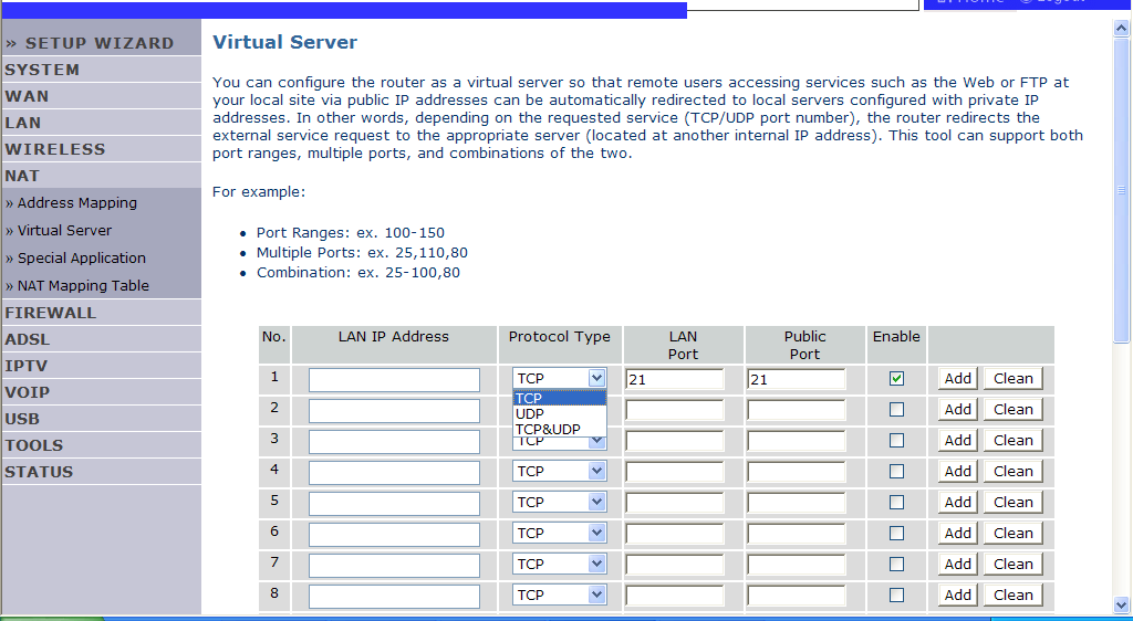 NAVIGATING THE MANAGEMENT INTERFACE Virtual Server If you configure the Router as a virtual server, remote users accessing services such as web or FTP at your local site via public IP addresses can