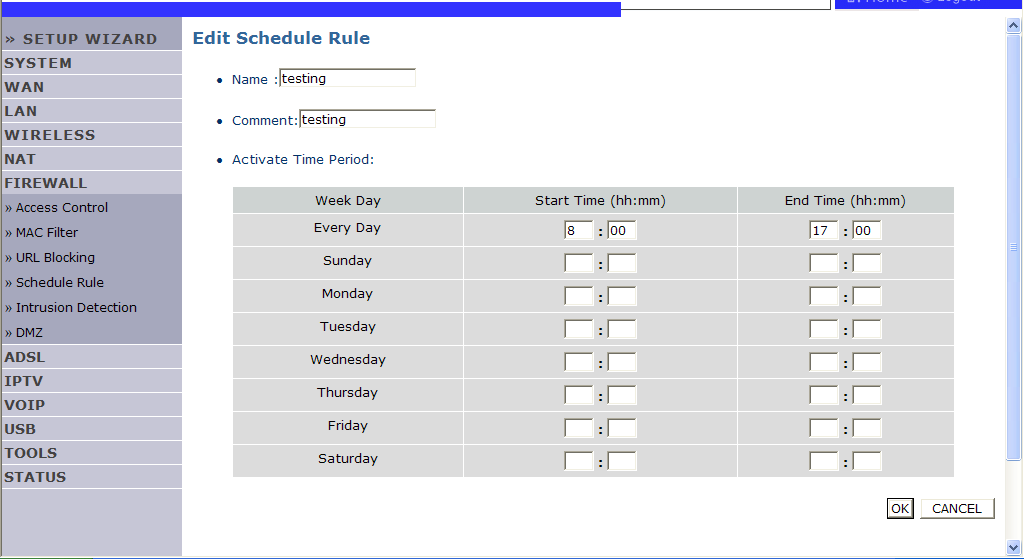 CONFIGURING THE VOIP ADSL ROUTER Follow these steps to add a schedule rule: 1. Click Add Schedule Rule on the Schedule Rule screen. 2.