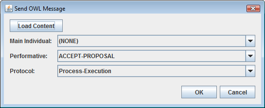 CHAPTER 6. IMPLEMENTATION OF THE SYSTEM The Actions menu also has the Send OWL Message item, which allows the user to send a pure OWL message to the selected Process Agent.