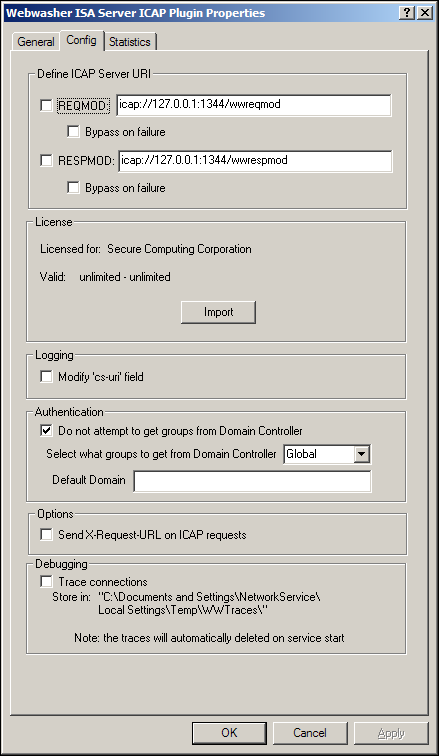 Config options Follow these steps to configure the Config options: 1. Select the Config tab. Default REQMOD value Default RESPMOD value Figure 2: Config options 2.