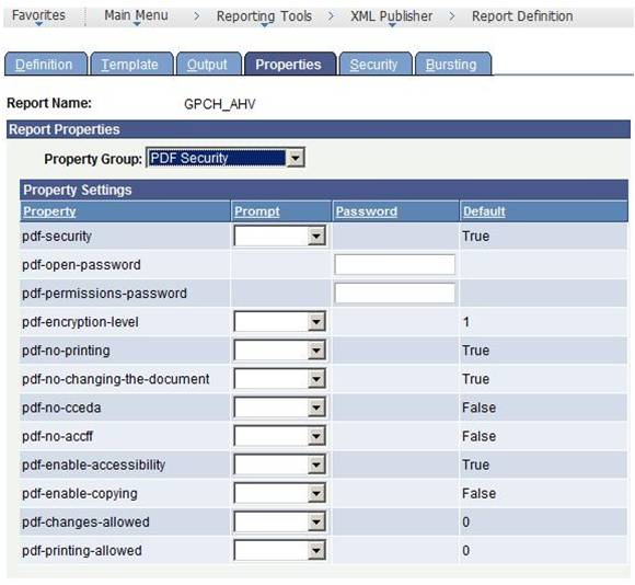 PROTECTING PDF FILES AND XDO.CFG In PeopleTools 8.50, the reporting development team incorporated this feature in the Report Definition page., See the following sample form.