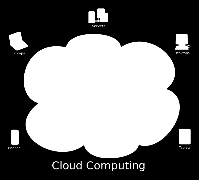 Figure 2.9: Cloud computing logical diagram. The main enabling technology for cloud computing is virtualization.