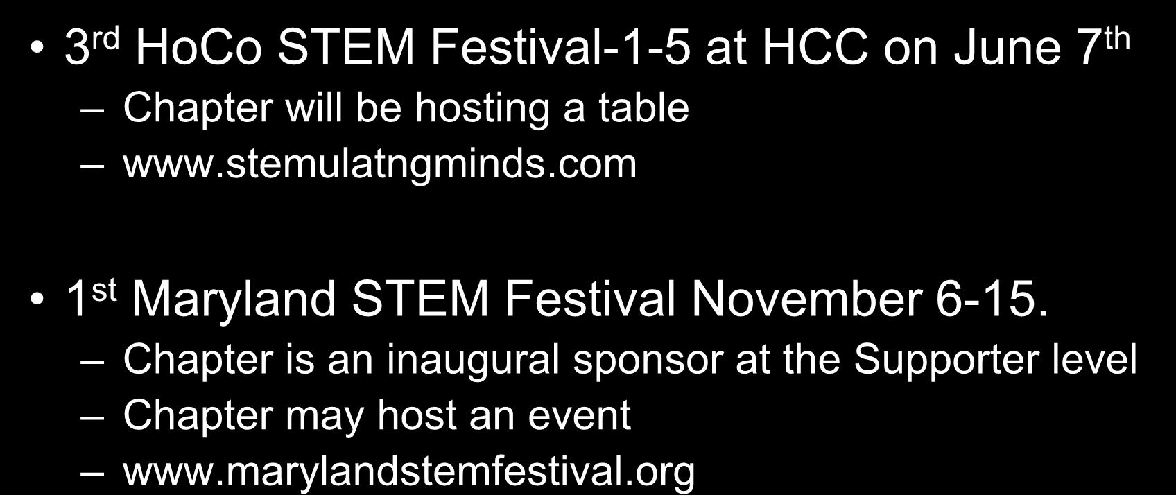 Chapter STEM Activities 3 rd HoCo STEM Festival-1-5 at HCC on June 7 th Chapter will be hosting a table www.stemulatngminds.