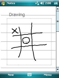 Drawing on the Screen You can draw on the screen in the same way that you write on the screen. 1. Tap Menu Draw to enable drawing mode. A check ( ) appears before the command. 2.