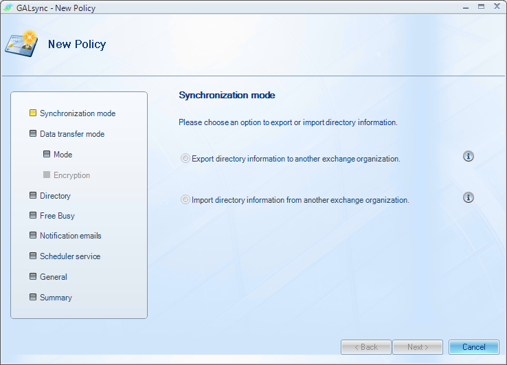 Wizards The GALsync Console also provides Wizards for simplifying the tasks of creating export and import policies.