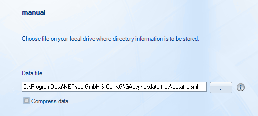 Manual GALsync extracts the selected objects from your active directory and stores this information into a local file. Please choose a drive, folder and file name.