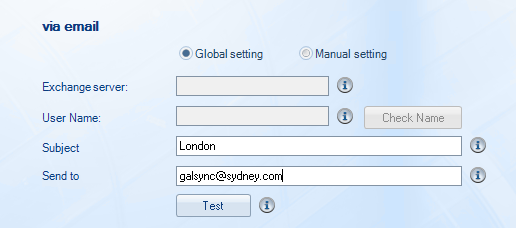Via email GALsync automatically sends the directory information as an emailattachment to the destination exchange organization. Important: Since version 4.
