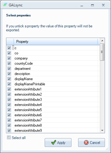 Properties Select which