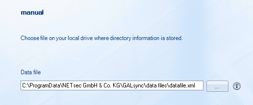 Manual GALsync reads the information from a local file for importing into Active Directory.