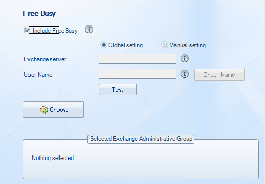 Free Busy To synchronize Free/Busy information please enter the Exchange Server and enter the Service Account username.
