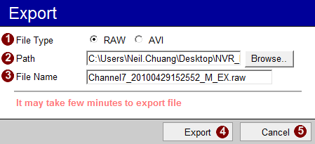 Export Active Player - Export Select a video window with a clip already playing, then click on the Export button in the main screen to export video. You may specify the following info: 1.