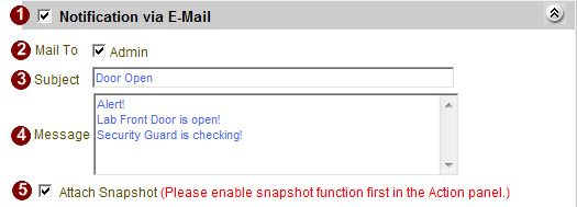 Mail Notification Setup This section lets you setup the E-mail notification. Fig. 40 Event Manager Setup - Notification via Email 1.