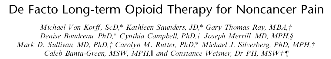 CONSORT STUDY CONsortium to Study Opioid Risks & Trends PI Michael Von Korff Aims Study trends in long-term opioid use 1997-2005 Assess risks of adverse events Assess the risks of misuse and