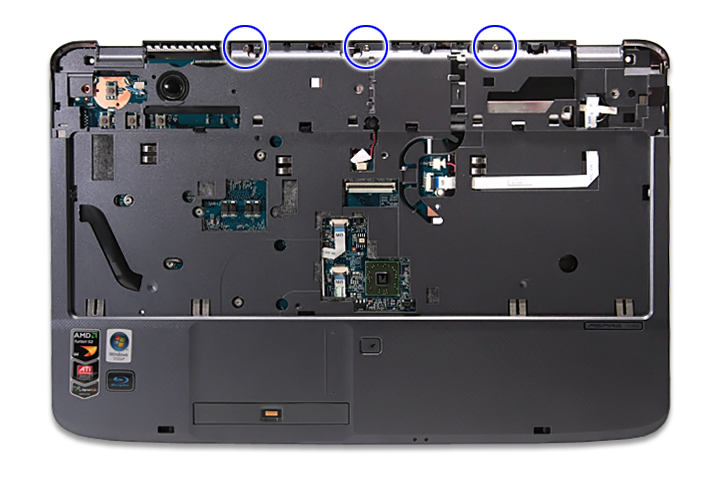 11. Remove the three screws (F) from the middle cover.