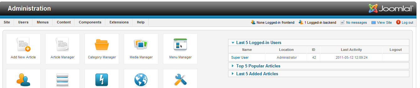 Joomla (Continue ) Joomlaback-end user interface. Liferay Liferay is enterprise web platform for implementing a variety of business solutions.