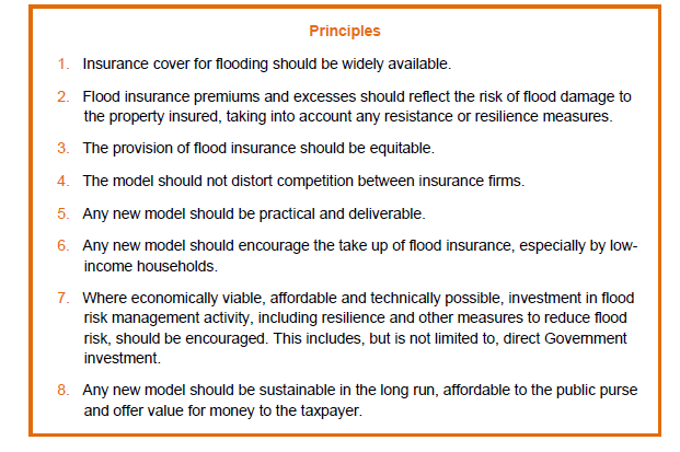 Box 3: Principles for flood insurance, source: Defra (2011) p.5. For our investigation of risk reduction elements, principles 2 and 7 are directly relevant.