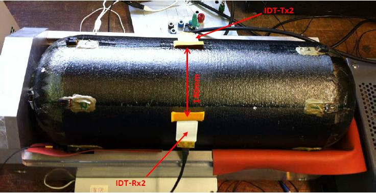 Interdigital (IDT) piezopolymer transducers for ultrasonic Lamb waves on COPV Scale model of a tank COPV,
