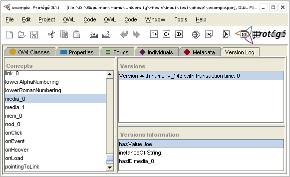 CHAPTER 9. PROOF OF CONCEPT 140 Figure 9.2: The Version Log plugin with the initial version of the IM. plugin makes use of the Jena 2 Framework for Java.