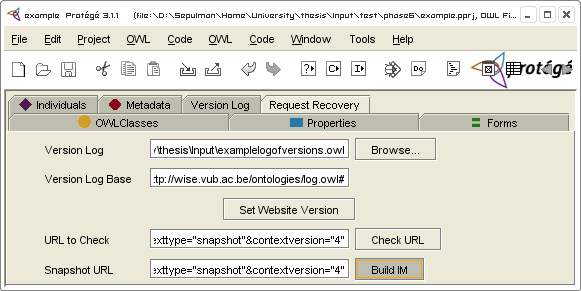 CHAPTER 9. PROOF OF CONCEPT 149 Figure 9.11: Rebuilding the IM using the Request Recovery plugin.