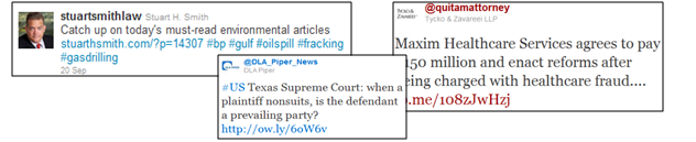 Figure 19, Law Firm s Advocacy Twitter Handle, Screen capture on September 26, 2011 Other handles transparently promote the interest of the firm or individual attorney.