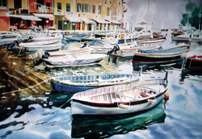 "Dwight Rose, Sarasota, Fla. Portofino Morning (detail), 1997. Watercolor, 30"" x 40""."