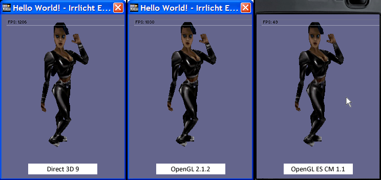 6.2.1 HELLO WORLD Applicatin size: 2300 KB. Frames per secnd: Direct 3D 9 OpenGL 2.1.2 OpenGL ES CM 1.