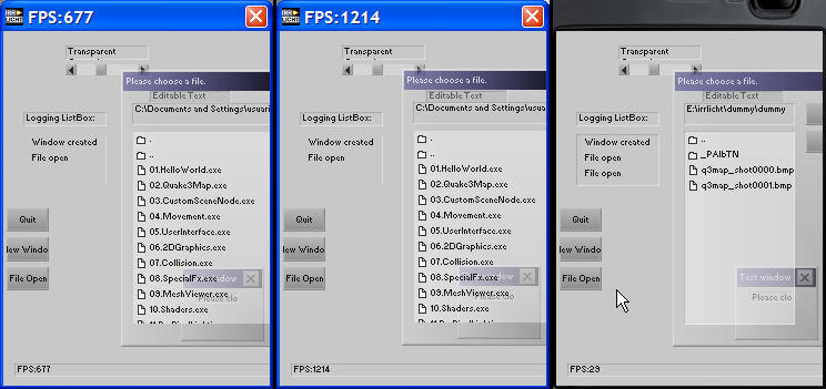 6.2.3 USER INTERFACE Applicatin size: 2304 KB. Frames per secnd: Direct 3D 9 OpenGL 2.1.2 OpenGL ES CM 1.
