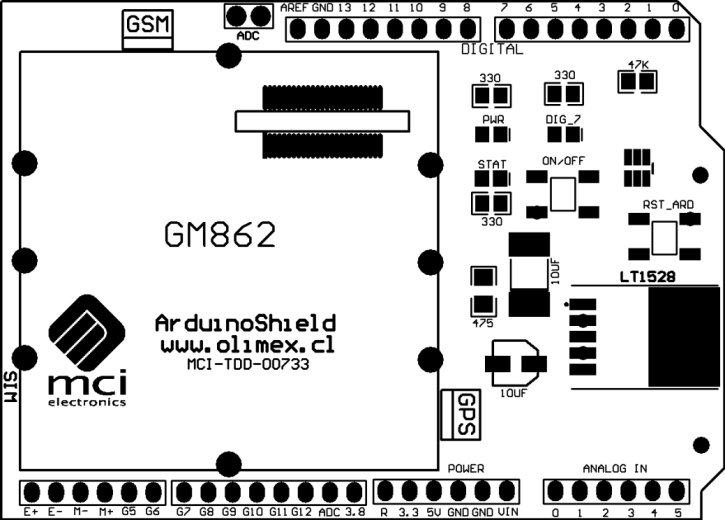 GM862 Arduino Shield User s Manual Page 5 of 13 DEVICE PARTS GSM Connector Antenna ADC Jumper LED PWR LED STAT LED USER ON/OFF Button GM862 Connector Modem Arduino Reset Button GPS Antenna Connection