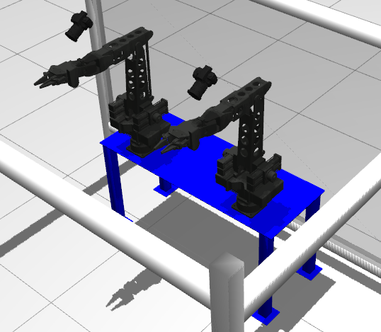 Appendix E. Developed ROS Packages 163 Figure E.4: Simulation of the current setup available at the Telerobotics Laboratory of the Centre for Automation and Robotics (CAR).