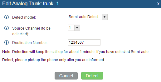 Figure 80: UCM6100 PSTN Detection: Auto Detect If there is only one FXO port connected to PSTN line, use the following settings for auto-detection.