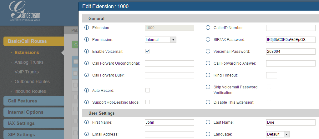 Figure 126: Configure Extension First Name and Last Name 4. Query Type Specify the query type. This defines how the caller will need to enter to search the directory.