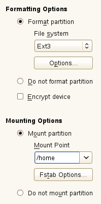 1. Under Formatting Options, select Format partition, then select the format type from the File system drop-down list, such as Ext3. 2.