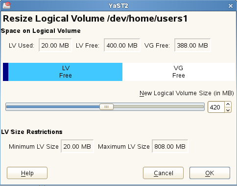 4.8 Resizing a Logical Volume with YaST 1 Log in as the root user, then open YaST. 2 In YaST, open the Partitioner.