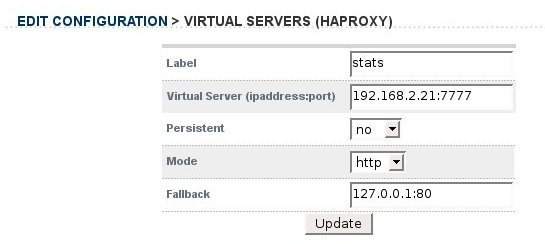 To enable the HaProxy web based statistics just add a new Virtual Server (HaProxy) VIP that is called 'stats'. NB. The name is important.