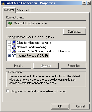 Configuring the loopback adapter 1. Open the Control Panel and double-click Network Connections 2.