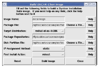 Build OSCAR Client Image A dialog will be displayed; in most cases the defaults are fine.