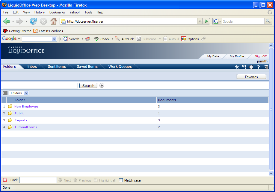 LiquidOffice Web Desktop LiquidOffice Web Desktop provides access to published forms and processes, and supplies the user